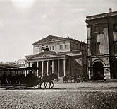 Horse-Drawn Tram in Theatre Square in Moscow, against a Background of the Bolshoi Theatre
